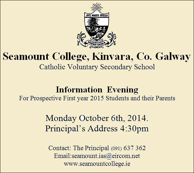 An open evening for new students for September 2015 will take place in the school ,from 4pm to 8 pm on Monday 6th of October 2014